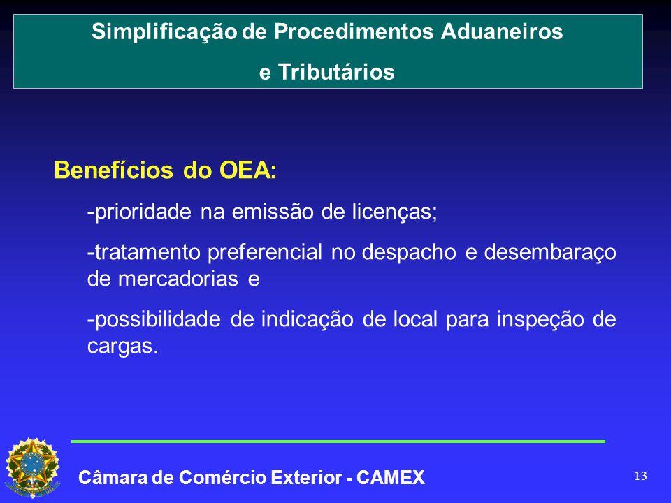 13 Benefícios do OEA: -prioridade na emissão de licenças; -tratamento preferencial no despacho e desembaraço de mercadorias e -possibilidade de indicação de local para inspeção de cargas.