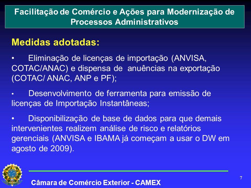 7 Medidas adotadas: Eliminação de licenças de importação (ANVISA, COTAC/ANAC) e dispensa de anuências na exportação (COTAC/ ANAC, ANP e PF); Desenvolvimento de ferramenta para emissão de licenças de Importação Instantâneas; Disponibilização de base de dados para que demais intervenientes realizem análise de risco e relatórios gerenciais (ANVISA e IBAMA já começam a usar o DW em agosto de 2009).