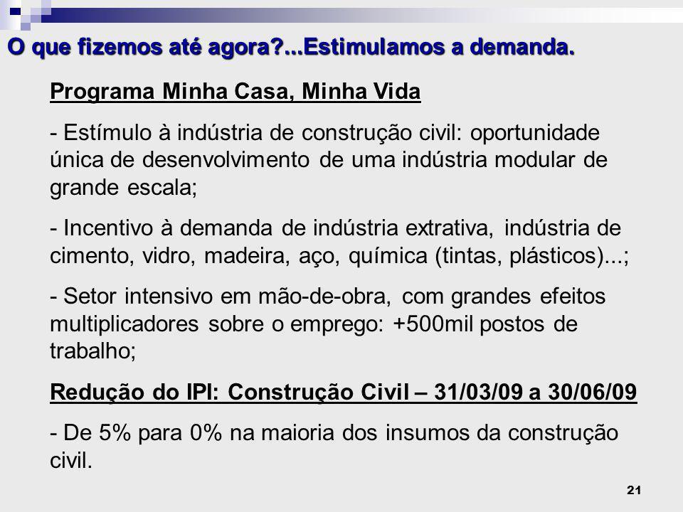 21 Programa Minha Casa, Minha Vida - Estímulo à indústria de construção civil: oportunidade única de desenvolvimento de uma indústria modular de grande escala; - Incentivo à demanda de indústria extrativa, indústria de cimento, vidro, madeira, aço, química (tintas, plásticos)...; - Setor intensivo em mão-de-obra, com grandes efeitos multiplicadores sobre o emprego: +500mil postos de trabalho; Redução do IPI: Construção Civil – 31/03/09 a 30/06/09 - De 5% para 0% na maioria dos insumos da construção civil.