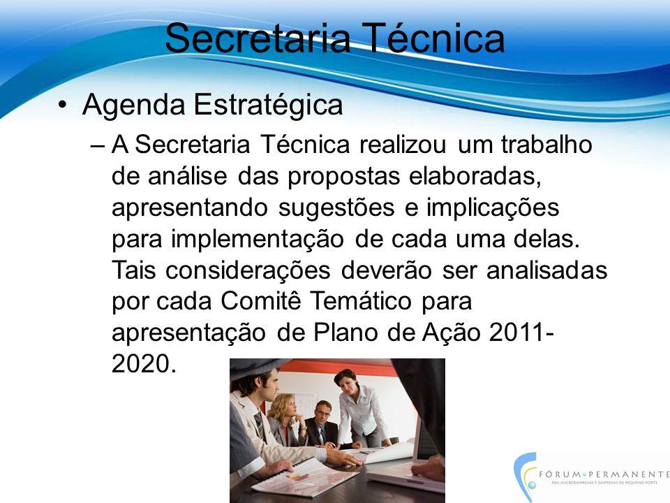 Secretaria Técnica Agenda Estratégica –A Secretaria Técnica realizou um trabalho de análise das propostas elaboradas, apresentando sugestões e implicações para implementação de cada uma delas.
