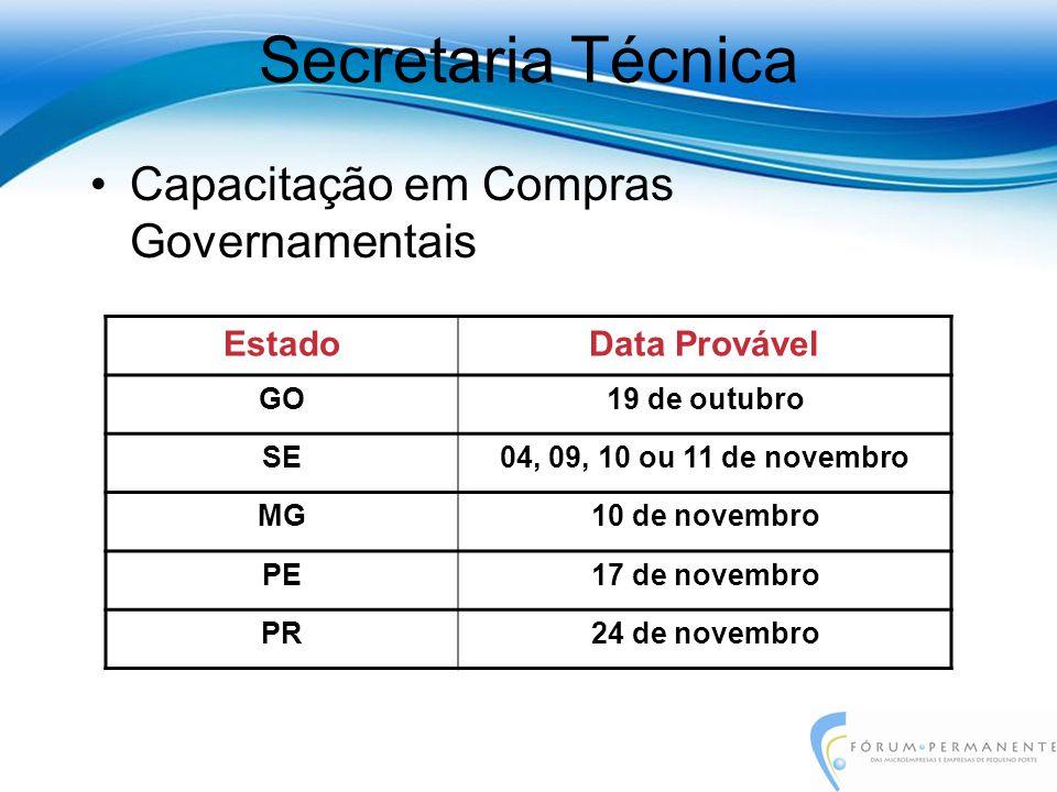 Capacitação em Compras Governamentais Secretaria Técnica EstadoData Provável GO19 de outubro SE04, 09, 10 ou 11 de novembro MG10 de novembro PE17 de novembro PR24 de novembro