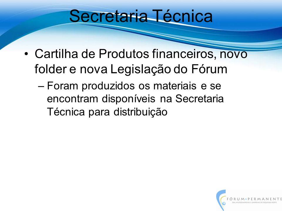 Cartilha de Produtos financeiros, novo folder e nova Legislação do Fórum –Foram produzidos os materiais e se encontram disponíveis na Secretaria Técni