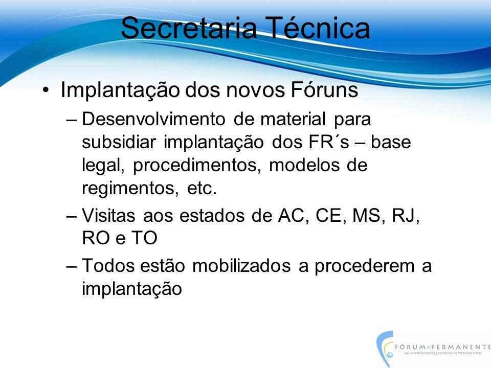 Implantação dos novos Fóruns –Desenvolvimento de material para subsidiar implantação dos FR´s – base legal, procedimentos, modelos de regimentos, etc.