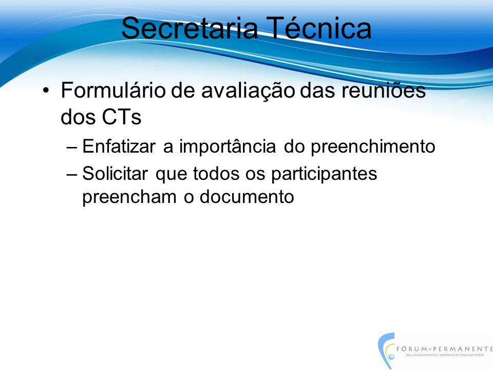 Formulário de avaliação das reuniões dos CTs –Enfatizar a importância do preenchimento –Solicitar que todos os participantes preencham o documento Sec