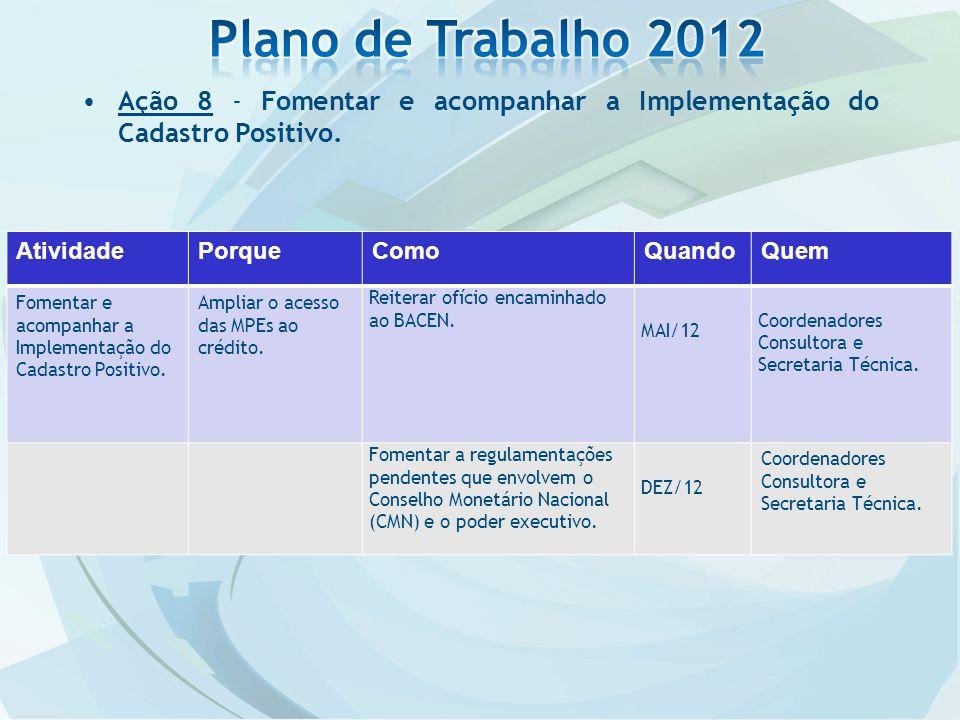Ação 8 - Fomentar e acompanhar a Implementação do Cadastro Positivo.