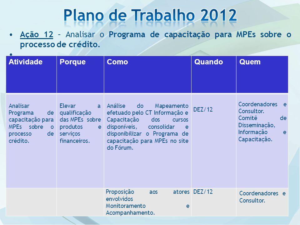 Ação 12 – Analisar o Programa de capacitação para MPEs sobre o processo de crédito..