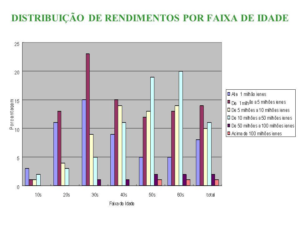 DISTRIBUIÇÃO DE RENDIMENTOS POR FAIXA DE IDADE