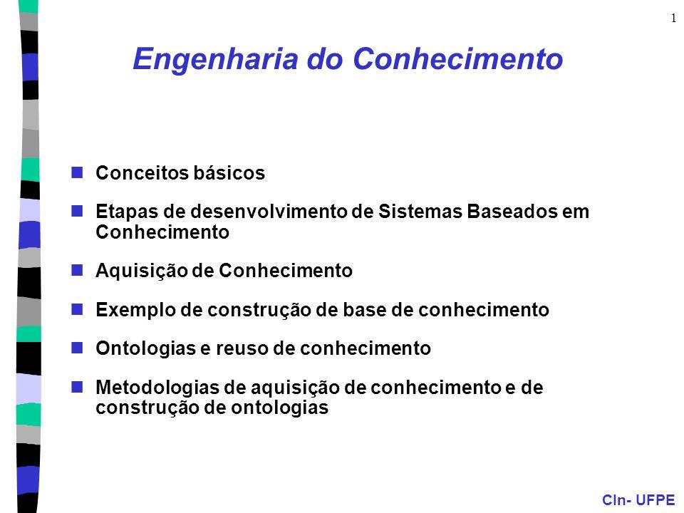 CIn- UFPE 12 Engenharia de Conhecimento 1) Decida sobre o que falar 2) Escolha o vocabulário de predicados, funções e constantes (Ontologia do Domínio) 3) Codifique o conhecimento genérico sobre o domínio (axiomas)  x,y,z Americano(x)  Arma(y)  Nação(z)  Hostil(z)  Vende(x,z,y)  Criminoso(x) 4) Codifique uma descrição de uma instância específica do problema Nação(Cuba), Nação(USA) 5) Proponha questões para o procedimento de inferência e obtenha respostas West é criminoso?