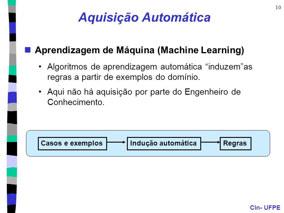 """CIn- UFPE 10 Aquisição Automática Aprendizagem de Máquina (Machine Learning) Algoritmos de aprendizagem automática """"induzem""""as regras a partir de exem"""