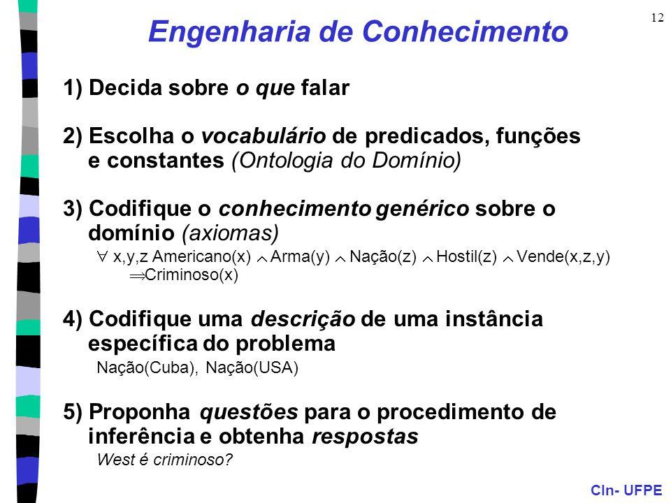 CIn- UFPE 12 Engenharia de Conhecimento 1) Decida sobre o que falar 2) Escolha o vocabulário de predicados, funções e constantes (Ontologia do Domínio