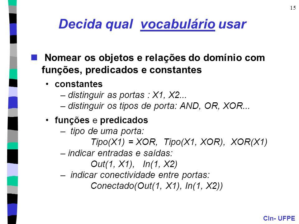 CIn- UFPE 15 Decida qual vocabulário usar Nomear os objetos e relações do domínio com funções, predicados e constantes constantes –distinguir as porta