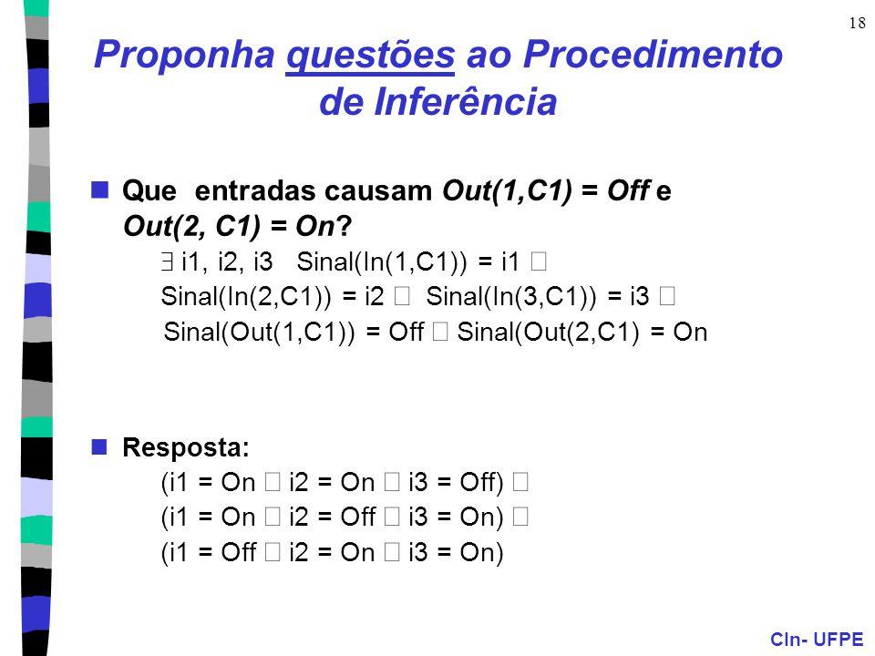 CIn- UFPE 18 Proponha questões ao Procedimento de Inferência Que entradas causam Out(1,C1) = Off e Out(2, C1) = On?  i1, i2, i3 Sinal(In(1,C1)) = i1