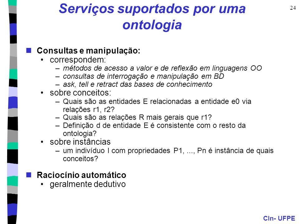 CIn- UFPE 24 Serviços suportados por uma ontologia Consultas e manipulação: correspondem: –métodos de acesso a valor e de reflexão em linguagens OO –c