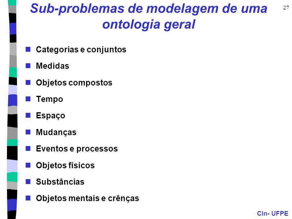 CIn- UFPE 27 Sub-problemas de modelagem de uma ontologia geral Categorias e conjuntos Medidas Objetos compostos Tempo Espaço Mudanças Eventos e proces