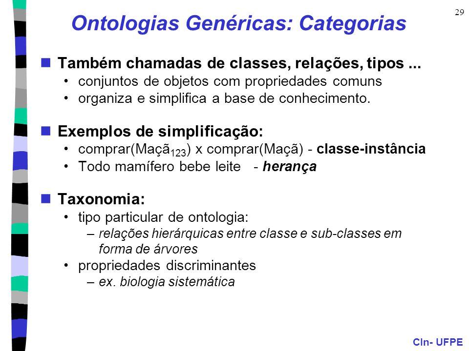 CIn- UFPE 29 Ontologias Genéricas: Categorias Também chamadas de classes, relações, tipos... conjuntos de objetos com propriedades comuns organiza e s