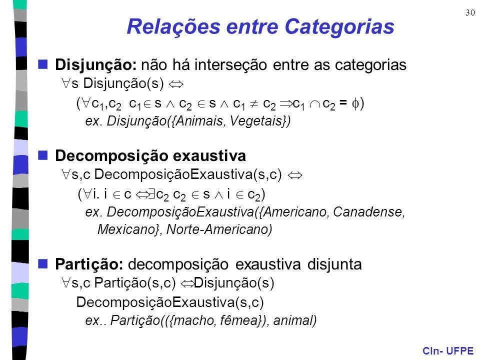 CIn- UFPE 30 Relações entre Categorias Disjunção: não há interseção entre as categorias  s Disjunção(s)  (  c 1,c 2 c 1  s  c 2  s  c 1  c 2 