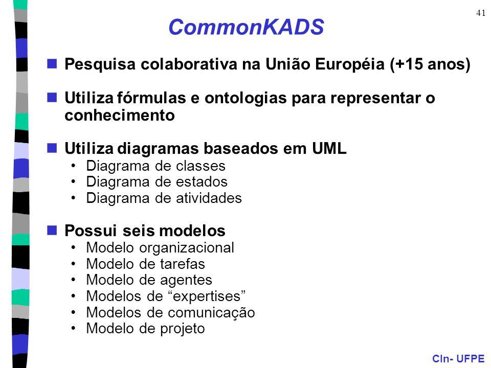 CIn- UFPE 41 CommonKADS Pesquisa colaborativa na União Européia (+15 anos) Utiliza fórmulas e ontologias para representar o conhecimento Utiliza diagr