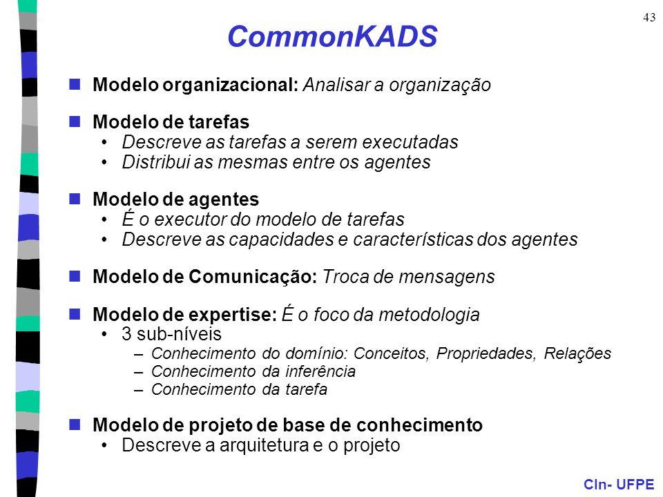CIn- UFPE 43 CommonKADS Modelo organizacional: Analisar a organização Modelo de tarefas Descreve as tarefas a serem executadas Distribui as mesmas ent