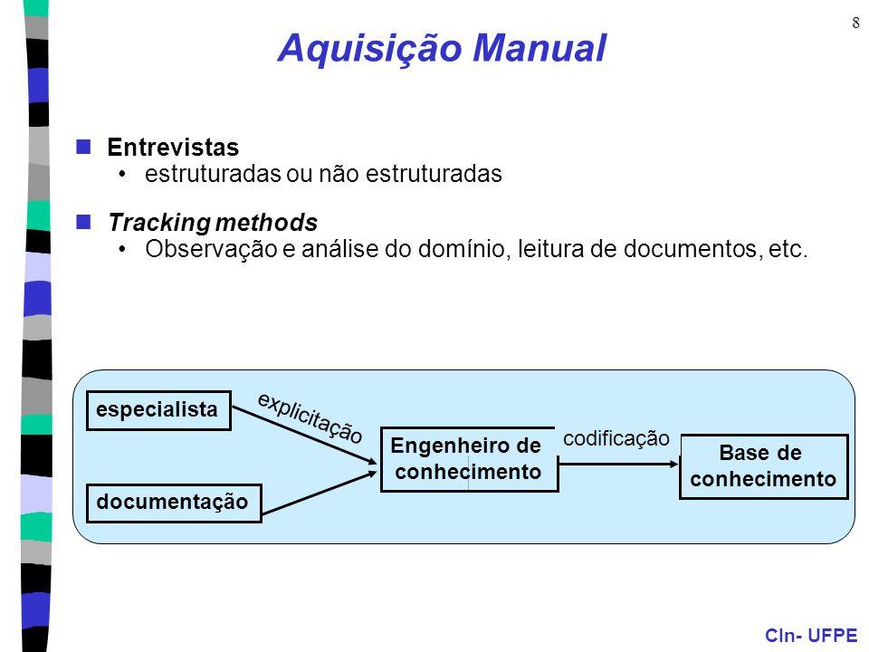 CIn- UFPE 8 Aquisição Manual Entrevistas estruturadas ou não estruturadas Tracking methods Observação e análise do domínio, leitura de documentos, etc