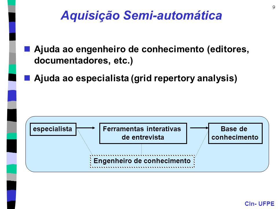 CIn- UFPE 9 Aquisição Semi-automática Ajuda ao engenheiro de conhecimento (editores, documentadores, etc.) Ajuda ao especialista (grid repertory analy