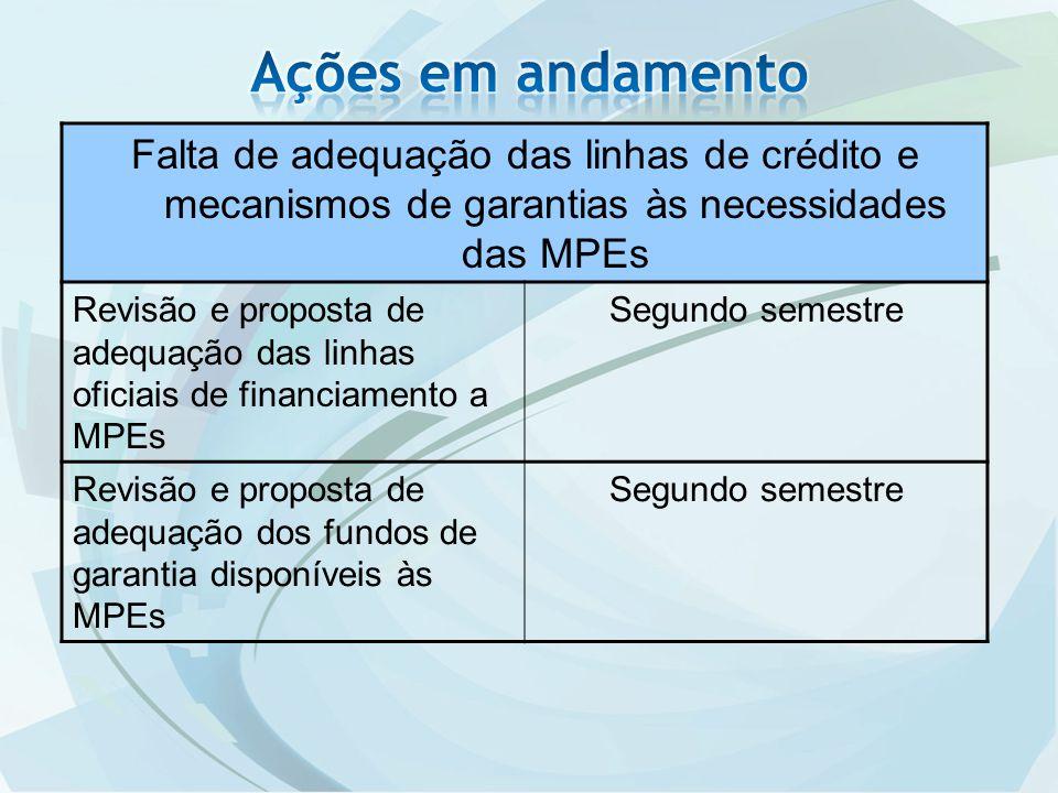 Falta de adequação das linhas de crédito e mecanismos de garantias às necessidades das MPEs Revisão e proposta de adequação das linhas oficiais de financiamento a MPEs Segundo semestre Revisão e proposta de adequação dos fundos de garantia disponíveis às MPEs Segundo semestre