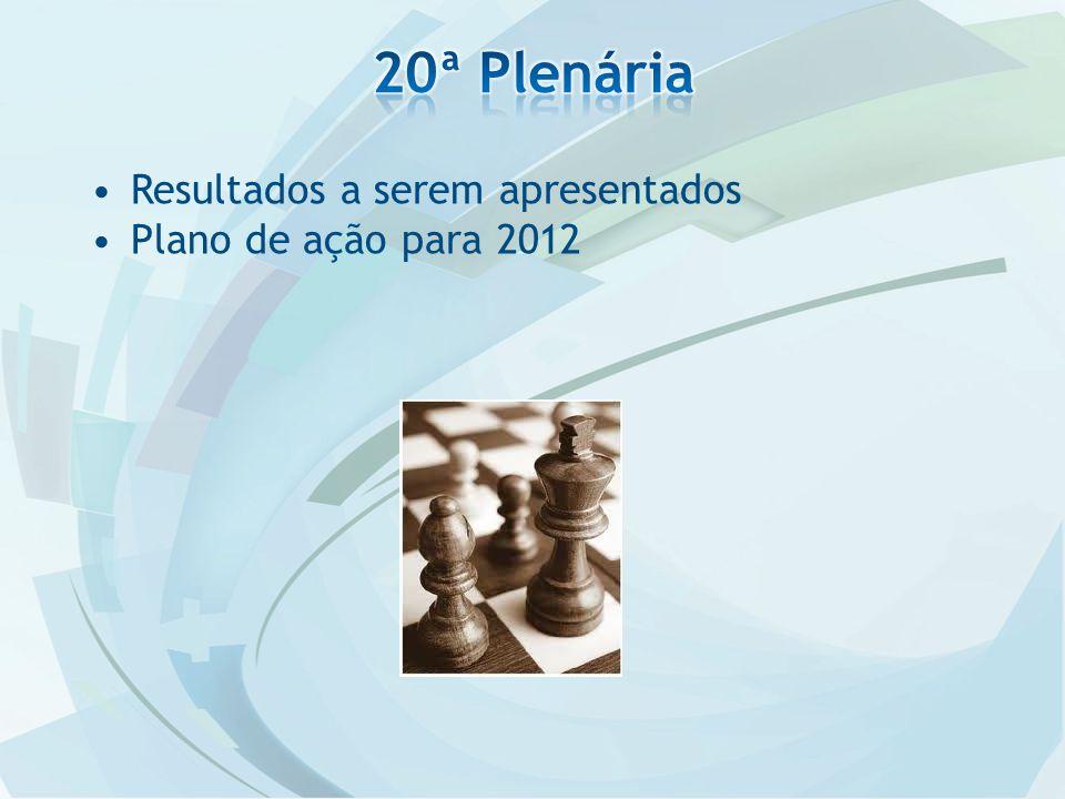 Resultados a serem apresentados Plano de ação para 2012