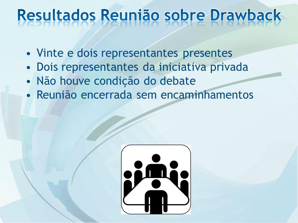 Vinte e dois representantes presentes Dois representantes da iniciativa privada Não houve condição do debate Reunião encerrada sem encaminhamentos