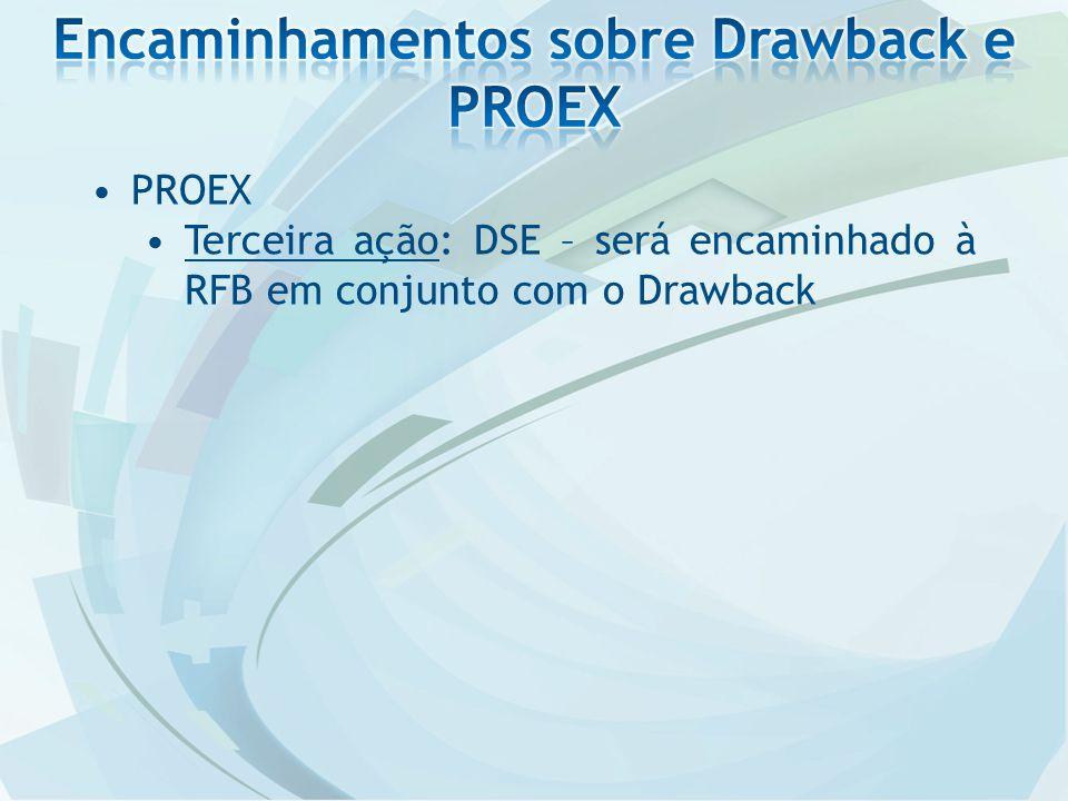 PROEX Terceira ação: DSE – será encaminhado à RFB em conjunto com o Drawback