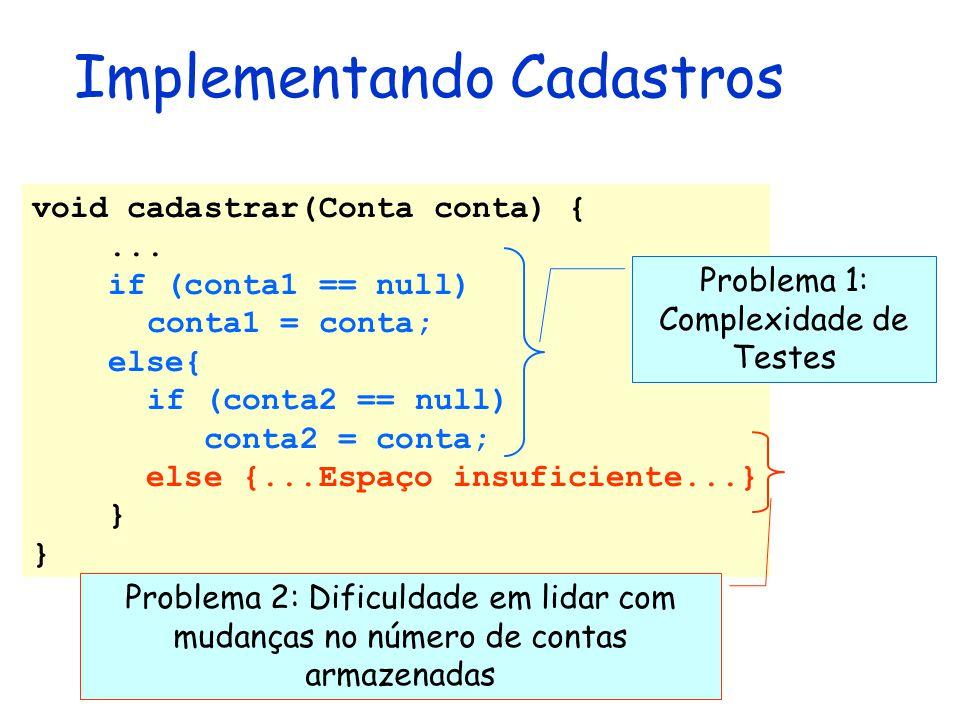 Implementando Cadastros void cadastrar(Conta conta) {... if (conta1 == null) conta1 = conta; else{ if (conta2 == null) conta2 = conta; else {...Espaço