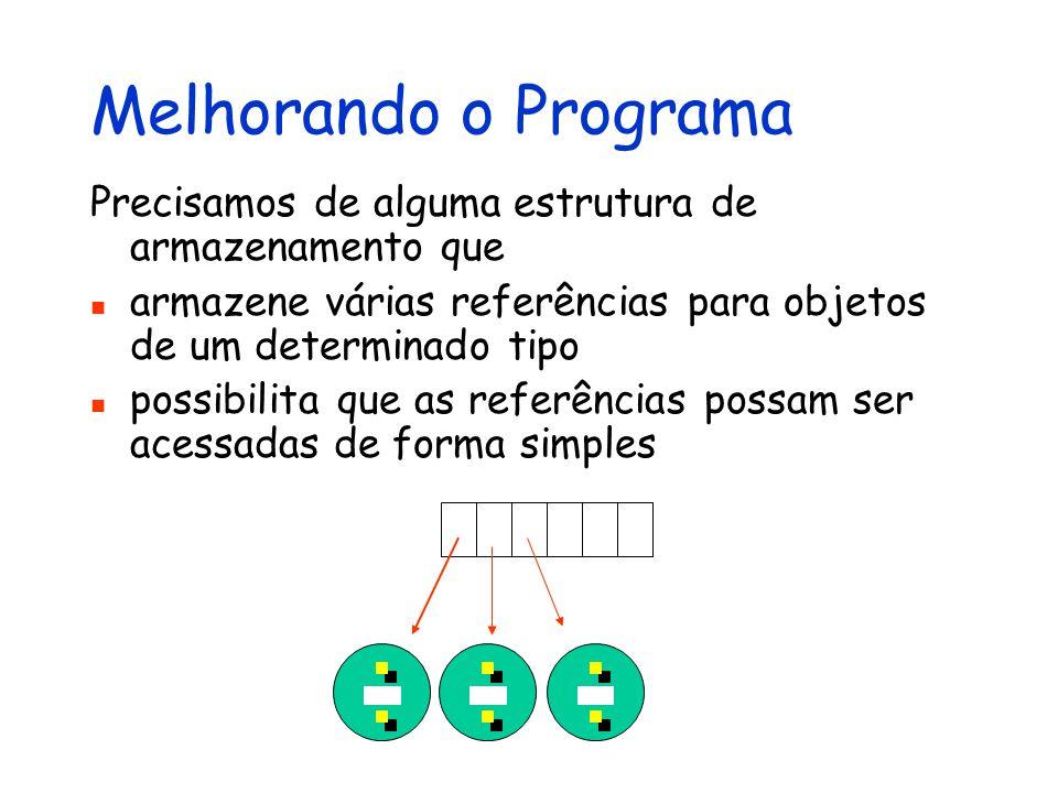 Melhorando o Programa Precisamos de alguma estrutura de armazenamento que armazene várias referências para objetos de um determinado tipo possibilita
