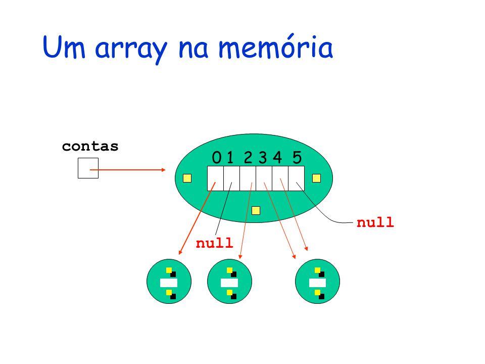 0 1 2 3 4 5 contas null Um array na memória