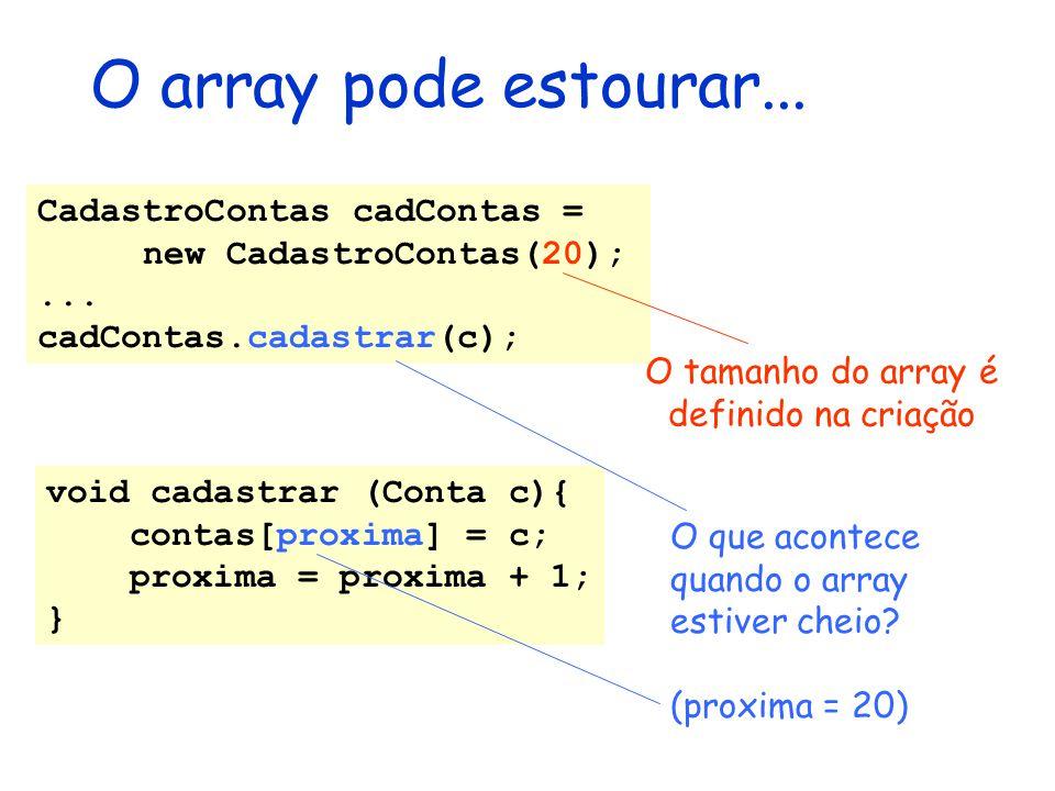 O array pode estourar... void cadastrar (Conta c){ contas[proxima] = c; proxima = proxima + 1; } CadastroContas cadContas = new CadastroContas(20);...