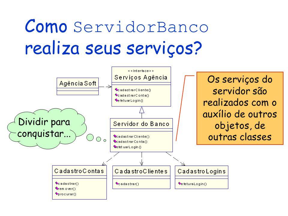 Como ServidorBanco realiza seus serviços? Dividir para conquistar... Os serviços do servidor são realizados com o auxílio de outros objetos, de outras
