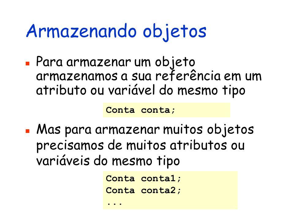 Armazenando objetos Para armazenar um objeto armazenamos a sua referência em um atributo ou variável do mesmo tipo Conta conta; Mas para armazenar mui