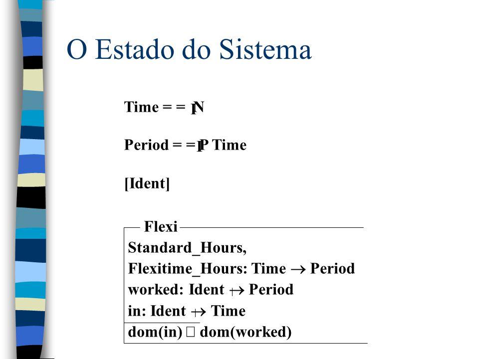 Exemplo de Especificação Usando Função entrar, sair, saldo Obs.: Este exemplo pode ser encontrado no livro Specification Case Studies, 2nd Edition, sob o nome de Flexitime, págs.