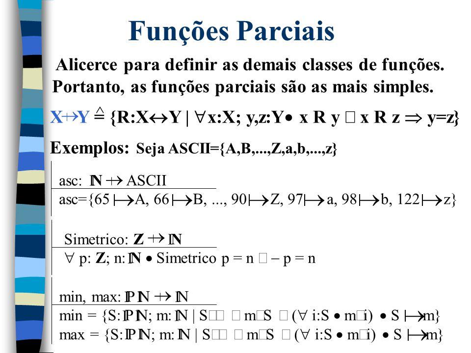 Funções  Tipo de relação onde não pode ocorrer a situação um para vários (1-to-N). Daí, a denominação determinística.  Notação: Usa-se f x = y em lu