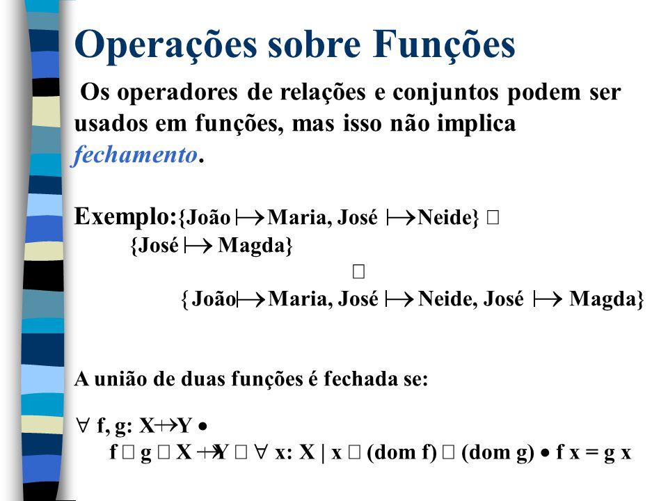 Funções Totais A função deve ser bem definida em todo o seu domínio. X  Y = { f: X  Y | dom f = X } ^ Exemplos: Seja BYTE={65,...,122} suc: N 