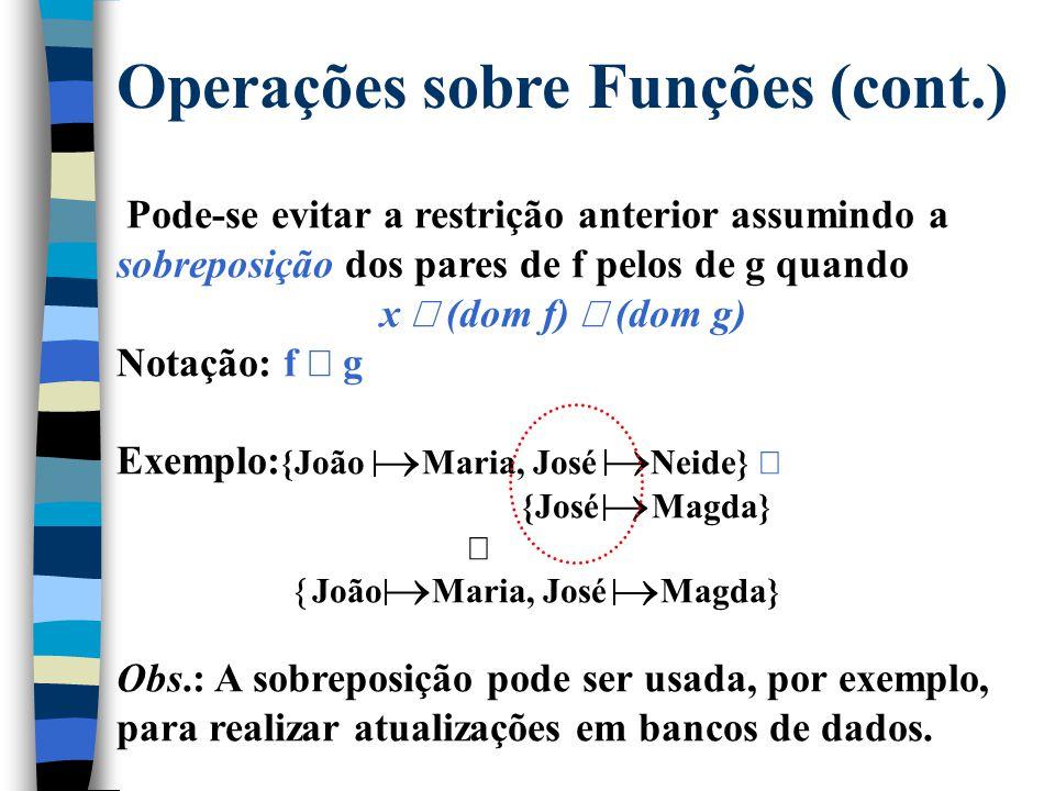 Operações sobre Funções Os operadores de relações e conjuntos podem ser usados em funções, mas isso não implica fechamento. Exemplo: {João  Maria, Jo