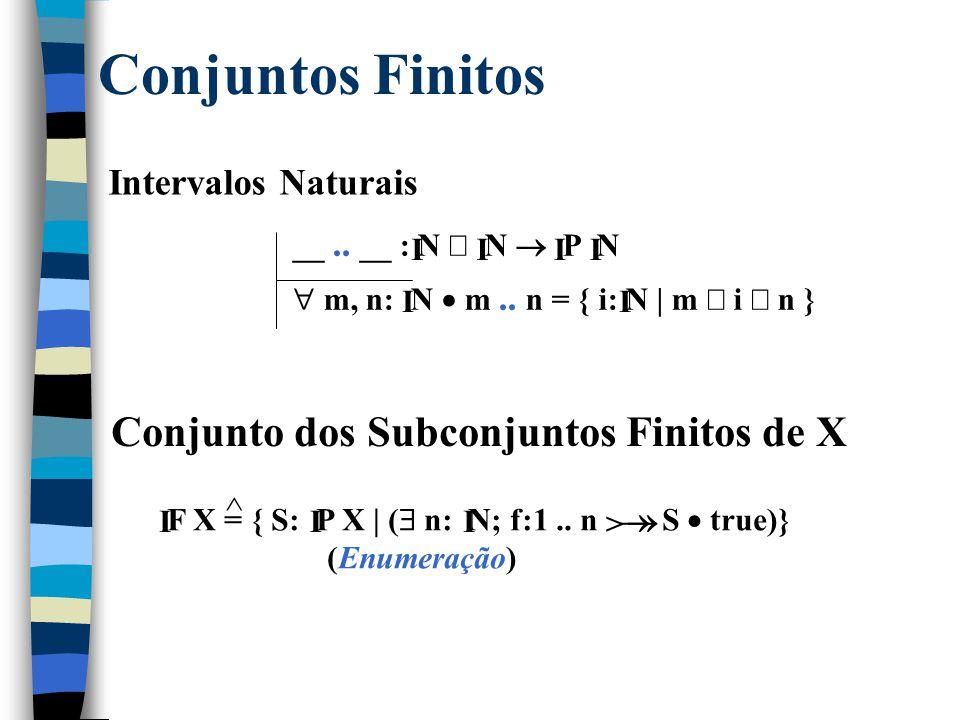 Algumas Funções Especiais Funções Parciais Injetivas de X para Y: X  Y = { f: X  Y |  x 1, x 2 : dom f  f x 1 = f x 2  x 1 = x 2 } > ^ Funções Totais Injetivas de X para Y: X  Y = (X  Y)  (X  Y) >> ^ Funções Parciais Sobrejetivas de X para Y: X  Y = { f: X  Y | ran f = Y} ^  Funções Totais Sobrejetivas de X para Y: X  Y = (X  Y)  (X  Y) ^  Funções Parciais Bijetivas de X para Y: X  Y = (X  Y)  (X  Y) ^  >> Funções Totais Bijetivas de X para Y: X  Y = (X  Y)  (X  Y) ^  >> 