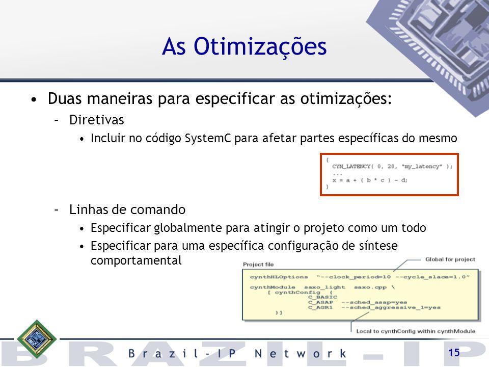 15 As Otimizações Duas maneiras para especificar as otimizações: –Diretivas Incluir no código SystemC para afetar partes específicas do mesmo –Linhas