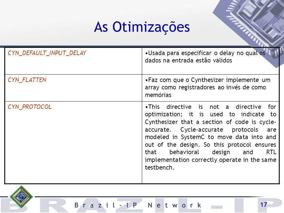 17 As Otimizações CYN_DEFAULT_INPUT_DELAYUsada para especificar o delay no qual os dados na entrada estão válidos CYN_FLATTENFaz com que o Cynthesizer