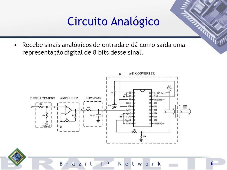 7 O conversor A/D utilizado foi o ADC0804 que possui algumas restrições –Ocasionaram o adicionamento de alguns dos módulos mostrados na figura anterior –Converte sinais com amplitude entre 0 e 5 volts.