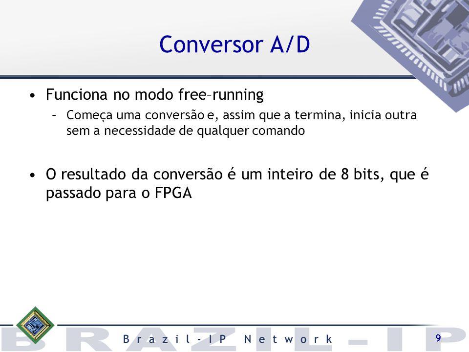 9 Funciona no modo free–running –Começa uma conversão e, assim que a termina, inicia outra sem a necessidade de qualquer comando O resultado da conver