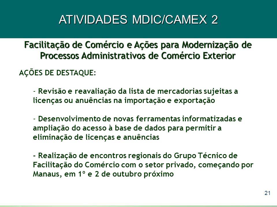21 ATIVIDADES MDIC/CAMEX 2 AÇÕES DE DESTAQUE: - Revisão e reavaliação da lista de mercadorias sujeitas a licenças ou anuências na importação e exporta