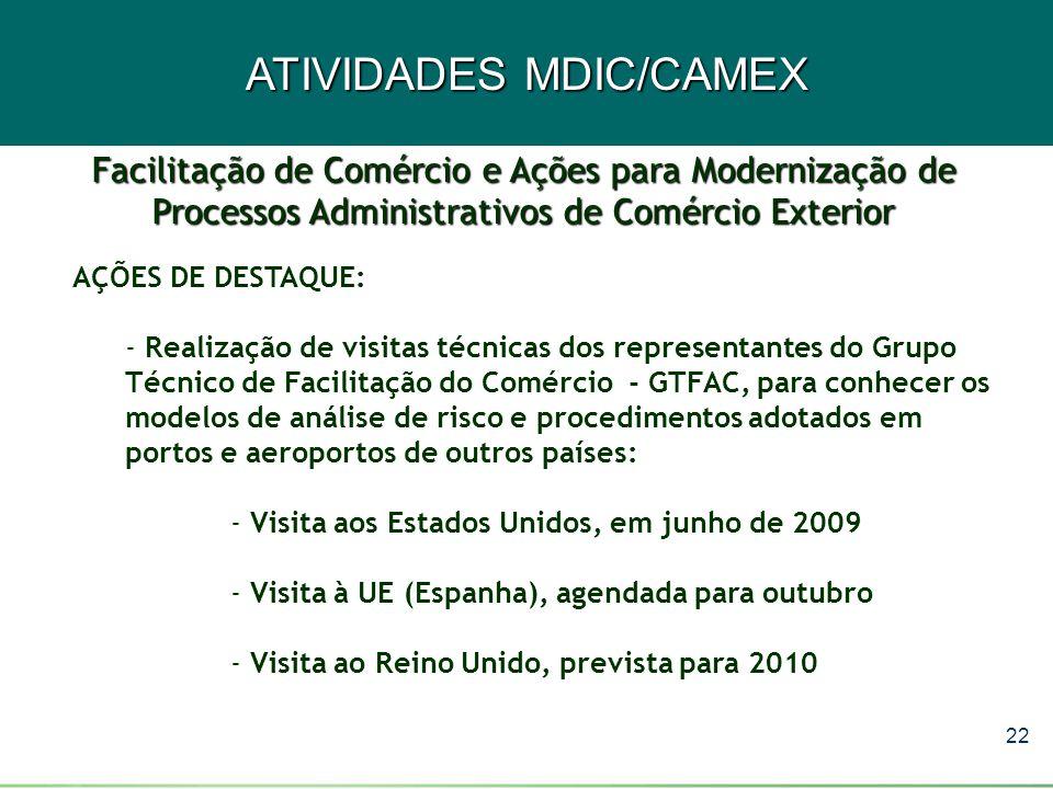 22 ATIVIDADES MDIC/CAMEX AÇÕES DE DESTAQUE: - Realização de visitas técnicas dos representantes do Grupo Técnico de Facilitação do Comércio - GTFAC, p
