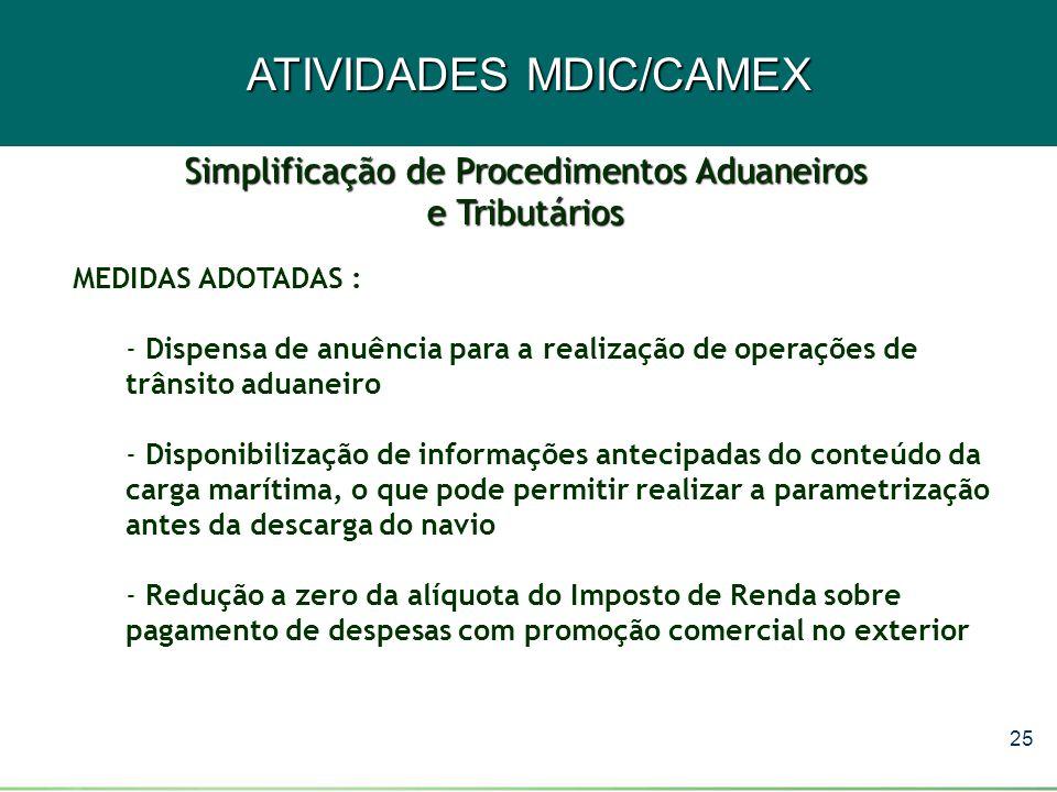 25 ATIVIDADES MDIC/CAMEX MEDIDAS ADOTADAS : - Dispensa de anuência para a realização de operações de trânsito aduaneiro - Disponibilização de informaç