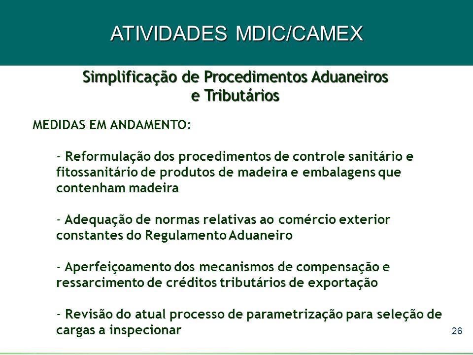 26 ATIVIDADES MDIC/CAMEX MEDIDAS EM ANDAMENTO: - Reformulação dos procedimentos de controle sanitário e fitossanitário de produtos de madeira e embala