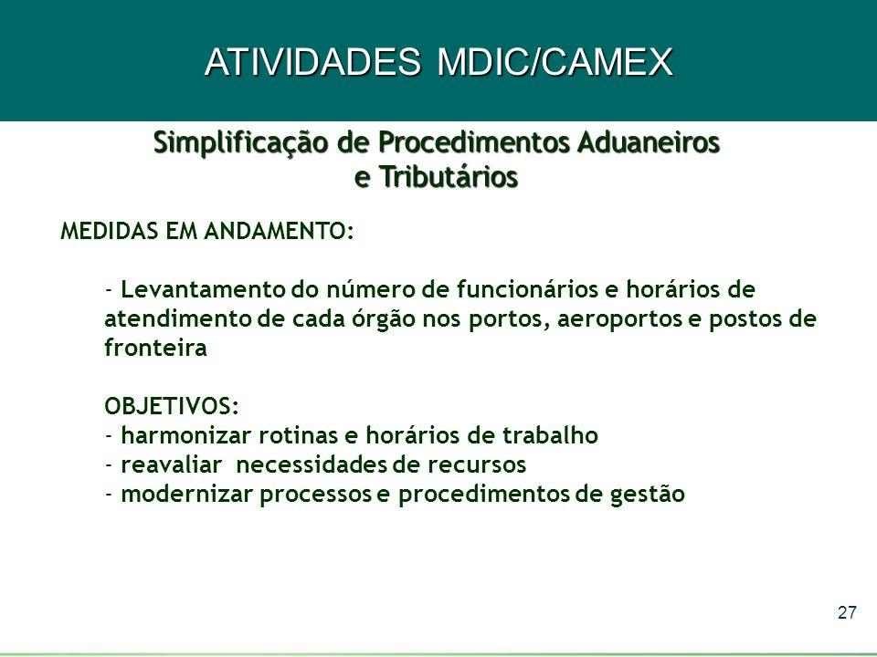 27 ATIVIDADES MDIC/CAMEX MEDIDAS EM ANDAMENTO: - Levantamento do número de funcionários e horários de atendimento de cada órgão nos portos, aeroportos