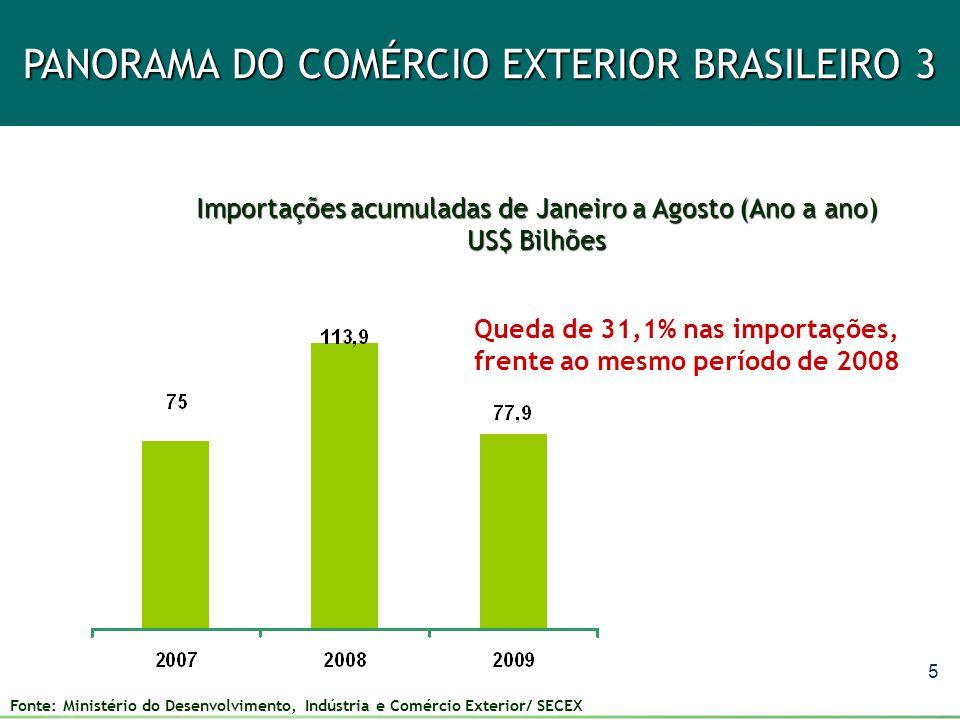 6 PANORAMA DO COMÉRCIO EXTERIOR BRASILEIRO 4 Saldos comerciais acumulados de Janeiro a Agosto (ano a ano) US$ Bilhões US$ 27,4 bilhões US$ 16,9 bilhões US$ 19,9 bilhões Aumento de 18% no superávit, frente ao mesmo período 2008 Fonte: Ministério do Desenvolvimento, Indústria e Comércio Exterior/ SECEX