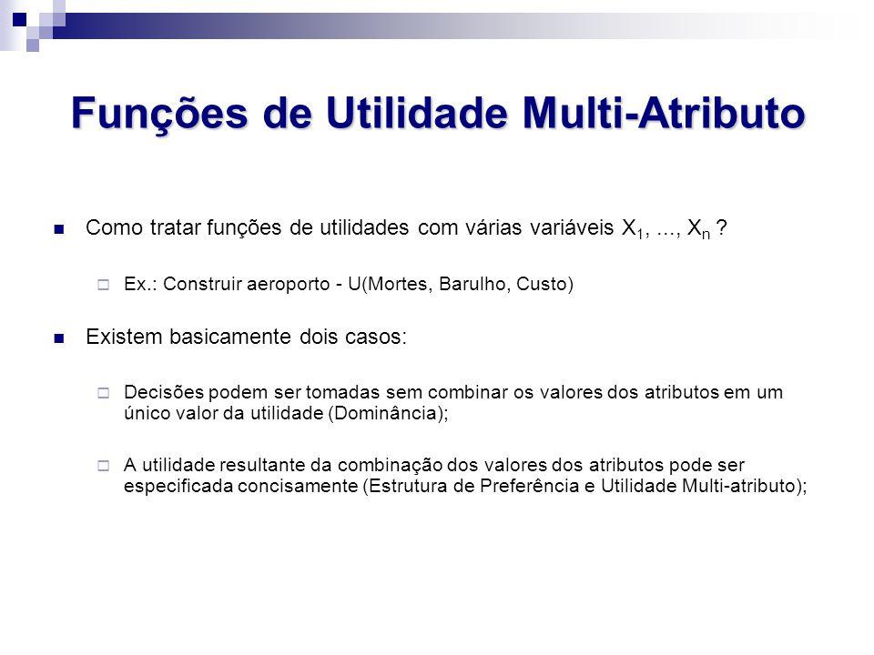 Funções de Utilidade Multi-Atributo Como tratar funções de utilidades com várias variáveis X 1,..., X n .